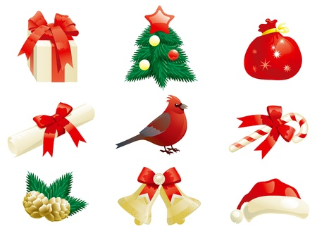 fir branch: set of some vector christmas decorations for holiday s icons  Illustration