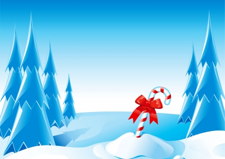winter scene: Christmas candy cane illustration of candy cane with red bow on winter forest background with copy space