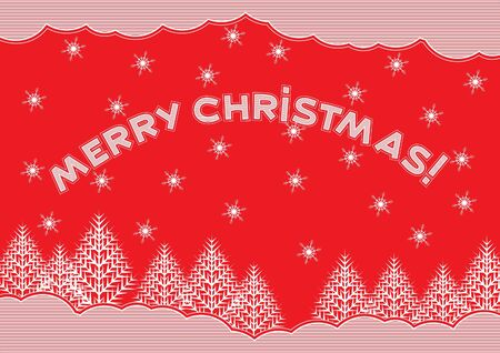 Merry christmas  red christmas card with white snowflakes, fir trees and heading - merry christmas  Vector