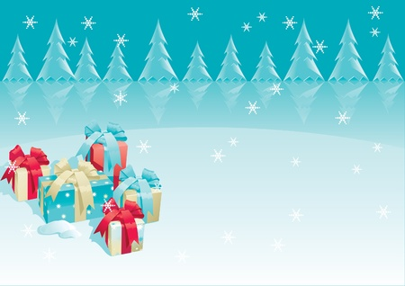 Christmas presents of christmas gifts boxes with bow and candy cane on winter background  Vector