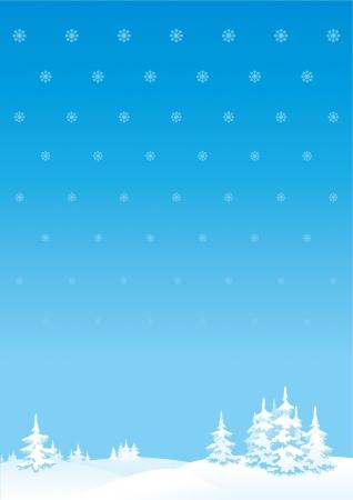 Kış manzara Merry Christmas s veya Yeni Yıl manzara dikey arka plan Illustration