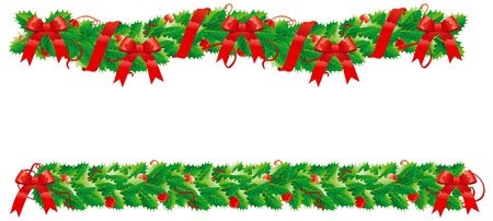 garland border: Christmas decoration  Two  holly garlands for christmas decoration