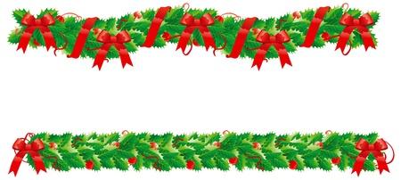 slingers: Kerstversiering Twee hulst slingers voor kerstmis decoratie Stock Illustratie