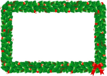 Christmas holly s frame  Border with green holly s leaves for christmas decoration  Vector