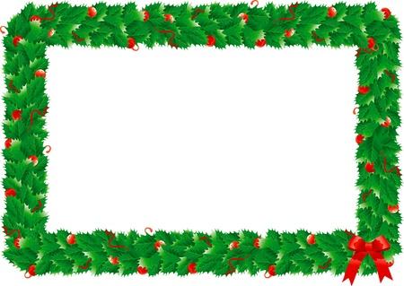 Noel dekorasyonu için yeşil Holly S yaprakları ile Noel Holly S çerçeve Sınır