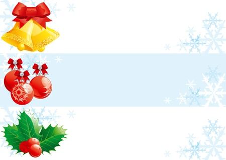 natale: Set of christmas banners  Vector christmas banners with hand bells, baubles and holly decorations  Illustration