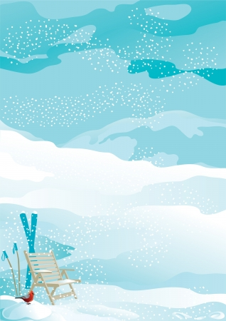 Holiday at mountains  Snowflakes, ski, deck chair and christmas bird at winter snow landscape with mountains  Vector