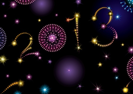 Happy New Year 2013  Vector holiday background with many stars and fireworks on night dark sky   Figure 2013 like fireworks stars  Vector