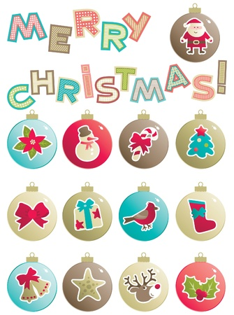 Christmas decorations  Vector set of baubles with christmas decorations and word  Merry christmas   isolated on white background