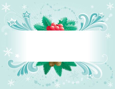 Christmas card  Vector empty blank for text with christmas decoration - branch of fir tree and holly - and abstract ornate elements Stock Vector - 16258999