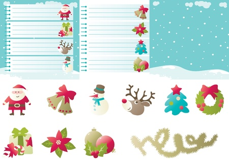 Set of backgrounds and icons for christmas  Vector backgrounds of baubles with christmas decorations   Vector