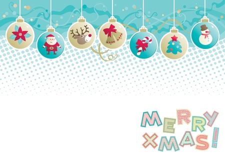 rudolf: Christmas background  Vector background of baubles with christmas decorations and  Merry xmas