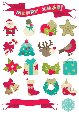 Christmas decorations  Set of icons of many christmas decorations and banners with  Merry christmas   isolated on white background   Vector