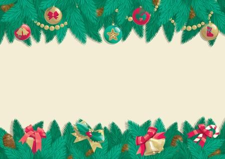 fir cone: Navidad fondo de la tarjeta del vector de la Navidad �rbol de abeto con decoraciones de Navidad y cono en el fondo abstracto Vectores