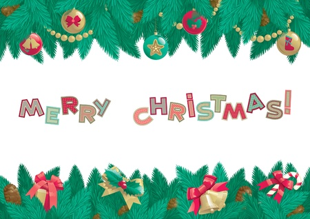 Merry Christmas background  Vector background  of christmas fir tree with Christmas decorations, cone and text  Merry Christmas    Stock Vector - 16460099