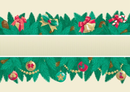 Christmas background with place for text  Vector card of christmas fir tree with Christmas decorations and cone on abstract background Stock Vector - 16460096
