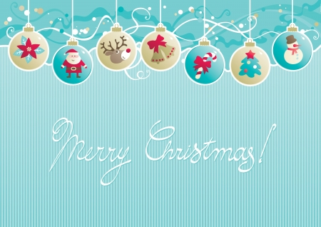 background of baubles with christmas decorations and  Merry christmas     Vector