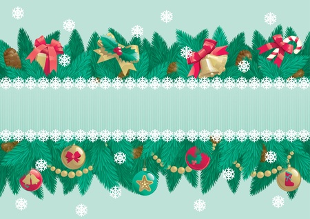 Christmas background with place for text   card of christmas fir tree with Christmas decorations and cone on abstract background Stock Vector - 16509588
