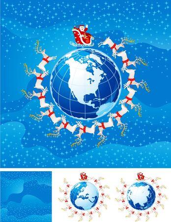 Santa Klaus flight  above America  Иллюстрация