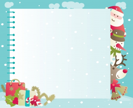 christmas border:   1057;hristmas background with copy space  Vector backgrounds of baubles with Santa, snowman, Rudolph The Red-nosed Reindee and christmas decorations