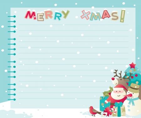 Christmas background with copy space  Vector backgrounds of baubles with Santa, snowman, Rudolph The Red-nosed Reindee and christmas decorations    Vector