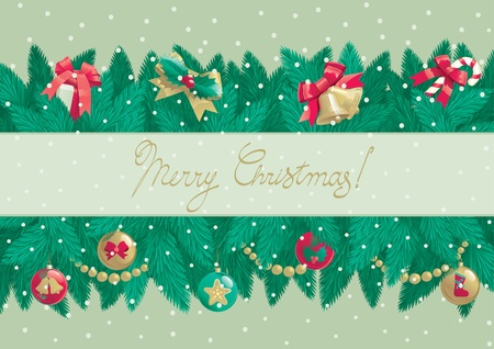 Merry Christmas  Vector christmas background with text  Merry Christmas    and  christmas fir tree branches with Christmas decorations   Stock Vector - 16629380