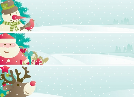 note pad: Set of christmas banner  Vector banners with Santa Claus, snowman, Red-Nosed Reindee, branches of fir tree and christmas decoration  on winter snow landscape