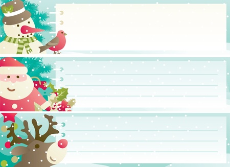 rudolph the red nosed reindeer: Set of christmas banner  Vector banners with Santa Claus, snowman, Red-Nosed Reindee, branches of fir tree and christmas decoration  and copy space