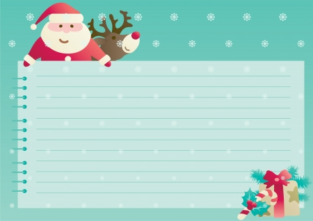 Christmas background with empty blank for text  Vector illustration of Santa Claus, christmas presents and  decorations with empty blank on horizontal background with snowflakes   Vector
