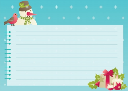 note pad: Christmas background with empty blank for text  Vector illustration of Snowman,, cardinal bird and christmas presents and  decorations with empty blank on horizontal background with snowflakes
