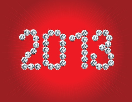 Happy New Year 2013 holiday background with many  crystals diamonds on red background   Numeral 2013 are of crystals diamonds Stock Vector - 16866306
