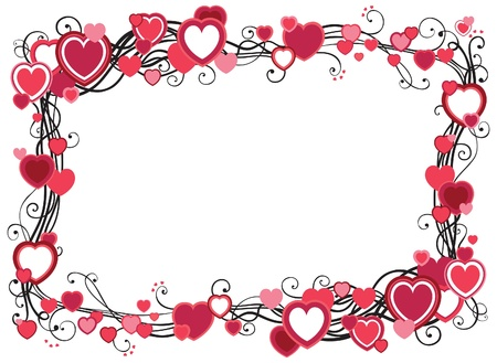 Frame with hearts   decorative border with hearts  on white background with place for text Stock Vector - 16917498