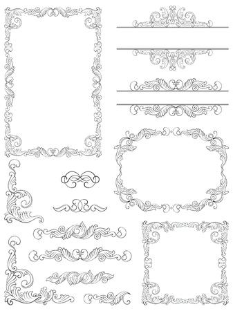 Victorian Design-Elemente der viktorianischen Calligraphic Rahmen, Element und Ecke Details Set Standard-Bild - 17031662