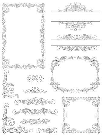 Victorian design elements  Set of Victorian  Calligraphic  frames, Element and corner details   Vector