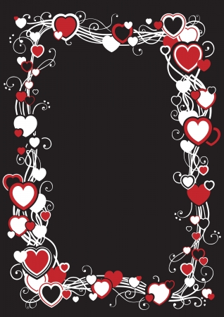 Frame with hearts decorative frame with hearts  on  black background  Stock Vector - 17031653