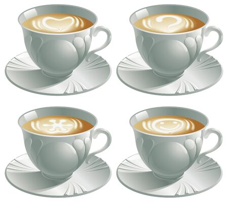 Four cups with cappuccino  illustration of four cups with cappuccino and pictures heart, smile, snowflake, question Stock Vector - 17057039