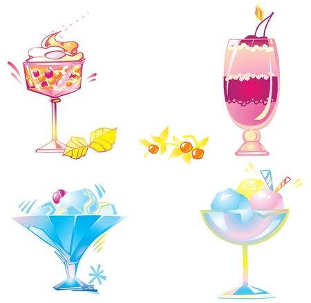 non alcohol: Conjunto de ilustraci�n vectorial postres de helado, crema batida y c�ctel en el fondo blanco