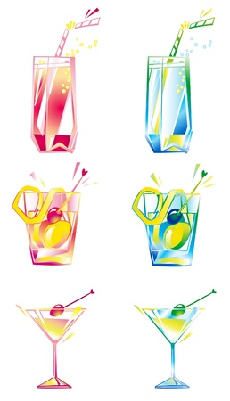 shaken: Set of beverages  Vector illustrations of glasses with beverages, two kind of colors