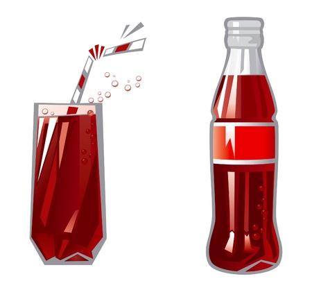 gaseosas: Vidrio y botella de ilustraci�n vectorial de vidrio y botella con bebida rojo oscuro