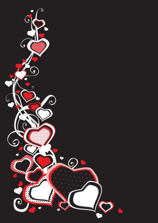 Hearts border  Vector abstract border  of  many hearts on black background  Stock Vector - 17265948