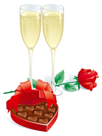 chocolate box: Valentines gift  Vector of two Champagne Flutes,  Red rose  and heart shaped box of chocolates candy isolated on white background