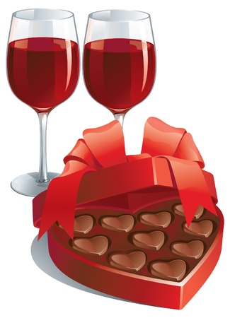 Valentines gift  of two wineglasses with Red wine  and heart shaped box of chocolates candy isolated on white background  Vector