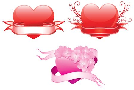 Valentine s hearts illustration of three ornate hearts for valentine s day Stock Vector - 17316503