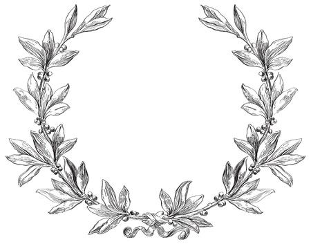 Laurel elemento decorativo corona en estilo de grabado