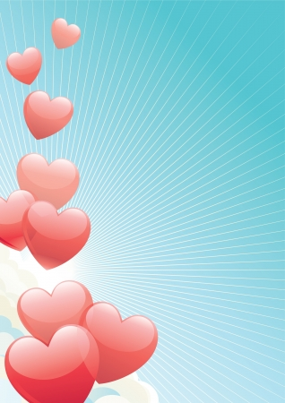 heats: Valentines day  illustration of heats shape balloons on blue sky with clouds,  sun and sun beams
