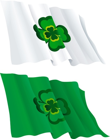 Flags for  St  Patrick s Day  Two flags with green leaf of clover Stock Vector - 17490562
