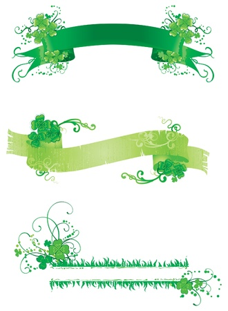 good s: Three banners with green clover  Set of vintage banners with floral ornament of clover