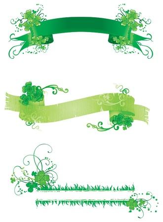 four leafs clover: Tres banderas con tr�bol verde Conjunto de banners vendimia con el ornamento floral de tr�bol