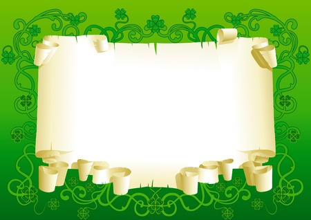 Blank of old paper for St  Patrick s Day  Old paper with leaves of clover and ornate elements on green background   Stock Vector - 17490578
