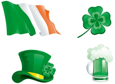Set icons for St  Patrick s Day  green hat, beer, clover, and ireland flag   Vector